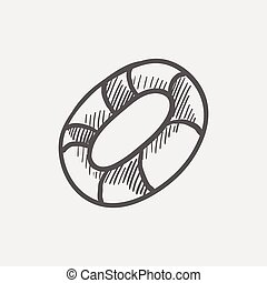Life preserver sketch icon for web and mobile Hand drawn...