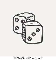 Dices sketch icon