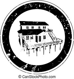 inn - Stylized stamp with a rustic inn