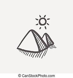 The pyramids of giza sketch icon