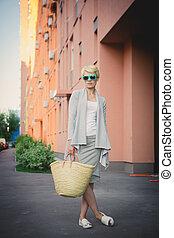 young beautiful woman, stylish fashion portrait - young...