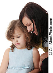 Portrait of a 5 year old girl with mum isolated on white...