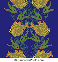 0615_12 piranha - Piranha fish underwater theme background...