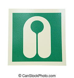 sign lifejacket - green sign lifejacket isolated on white...