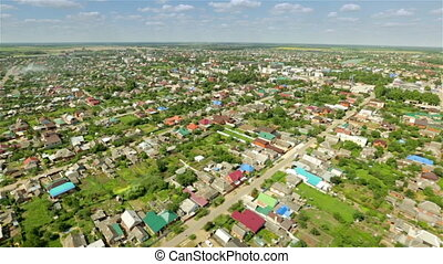 Helicopter aerial view of small provincial town in Russia...