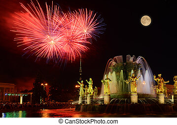 "Fireworks above Fountain ""Friendship of Nations""...."