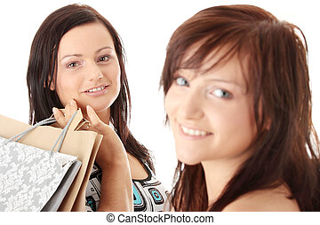 Shopping Women. Isolated over white background