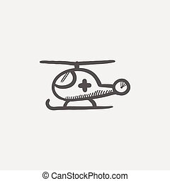 Air ambulance sketch icon for web and mobile. Hand drawn...