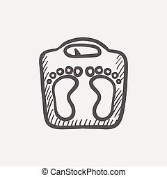 Weighing scale sketch icon for web and mobile. Hand drawn...