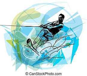 Water skiing illustration - Water skiing abstract vector...