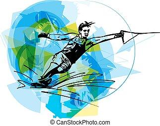 Water skiing illustration - Water skiing abstract vector...