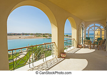 Balcony of a luxury villa with sea view