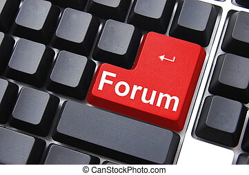 forum button - internet forum concept with key on computer...