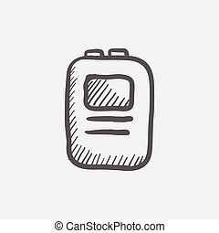 Heart defibrilliator sketch icon for web and mobile Hand...