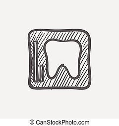 Tooth protected by a glass sketch icon