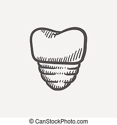 Tooth implant sketch icon for web and mobile Hand drawn...