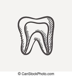 Molar tooth sketch icon for web and mobile Hand drawn vector...