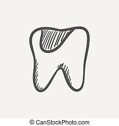 Tooth decay sketch icon for web and mobile Hand drawn vector...