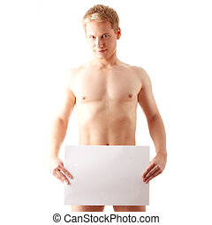 Nude man covering - Young muscular nude man covering a copy...
