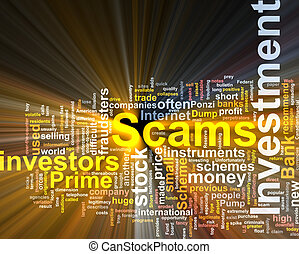 Investment scams word cloud glowing - Word cloud concept...