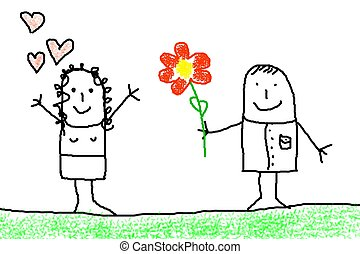 love concept with flower - illustration of love concept with...