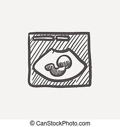 Fetal ultrasound sketch icon for web and mobile Hand drawn...