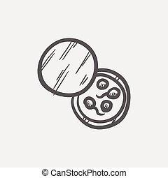 Petri, plato, con, bacterias, Bosquejo, icono,