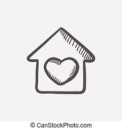 Contoured house sketch icon for web and mobile Hand drawn...