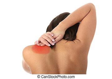 Back pain concept - Nude woman from behind Back pain concept...