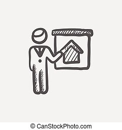 Real estate agent training sketch icon for web and mobile....