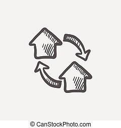 Two little houses sketch icon