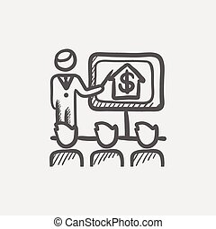 Real estate agent seminar sketch icon for web and mobile....