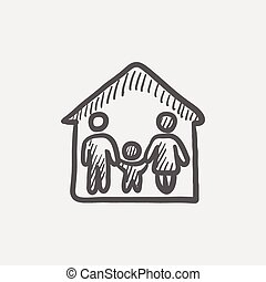 Family house sketch icon