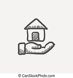 Hand owned the house sketch icon for web and mobile Hand...