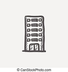 Office building sketch icon for web and mobile Hand drawn...