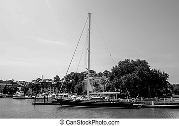 boats in harbour town of south beach hilton head