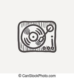 Phonograph turntable sketch icon for web and mobile Hand...