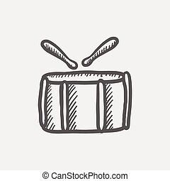 Snare drum with stick sketch icon for web and mobile Hand...
