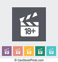 Adult movie clapper Single flat icon on the button Vector...
