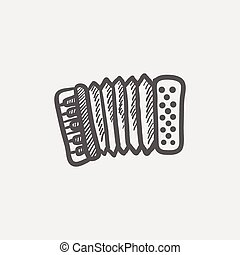 Organ sketch icon for web and mobile Hand drawn vector dark...