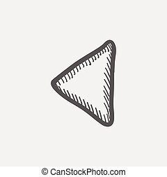 Playback button sketch icon for web and mobile. Hand drawn...