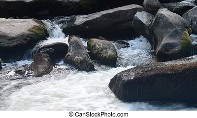 running water stream through rocks