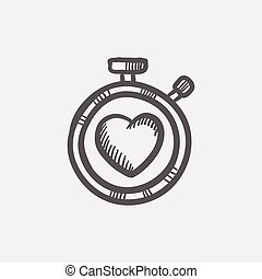 Heart time sketch icon