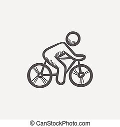 Sports bike and rider sketch icon for web and mobile. Hand...