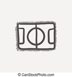 Basketball court sketch icon for web and mobile. Hand drawn...