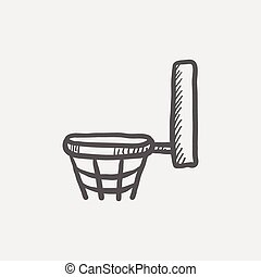Basketball hoop sketch icon for web and mobile. Hand drawn...