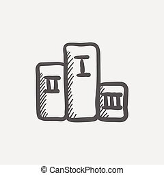 Winners podium sketch icon for web and mobile. Hand drawn...