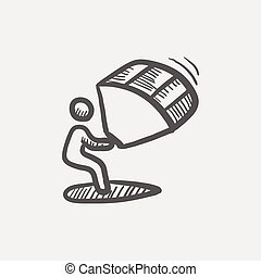 Kite surfing sketch icon for web and mobile. Hand drawn...