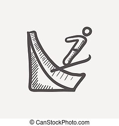 Skier jump in the air sketch icon for web and mobile. Hand...
