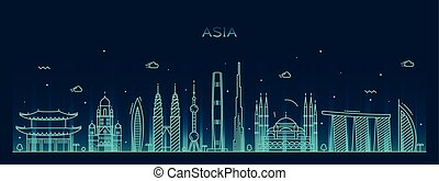 Asia skyline Trendy vector illustration line art